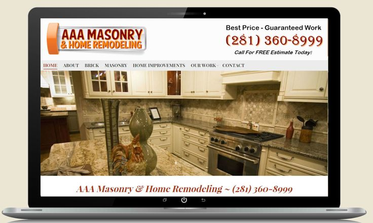 Web design computer screenshot of home services website  http://www.brickrepairman.com/