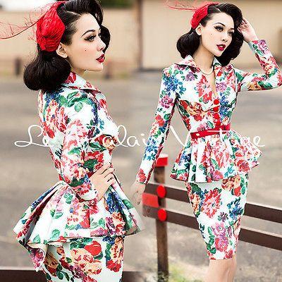 Le-Palais-Vintage-Stiff-Flower-Print-Jacket-Pencil-Skirt-Suit-Designed-by-Winny