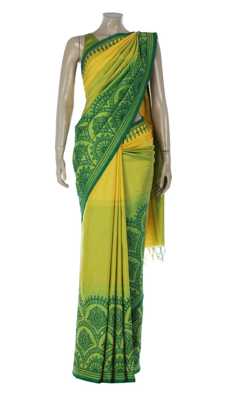 Yellow and Green Printed and Nakshi Kantha Embroidered Silk Saree