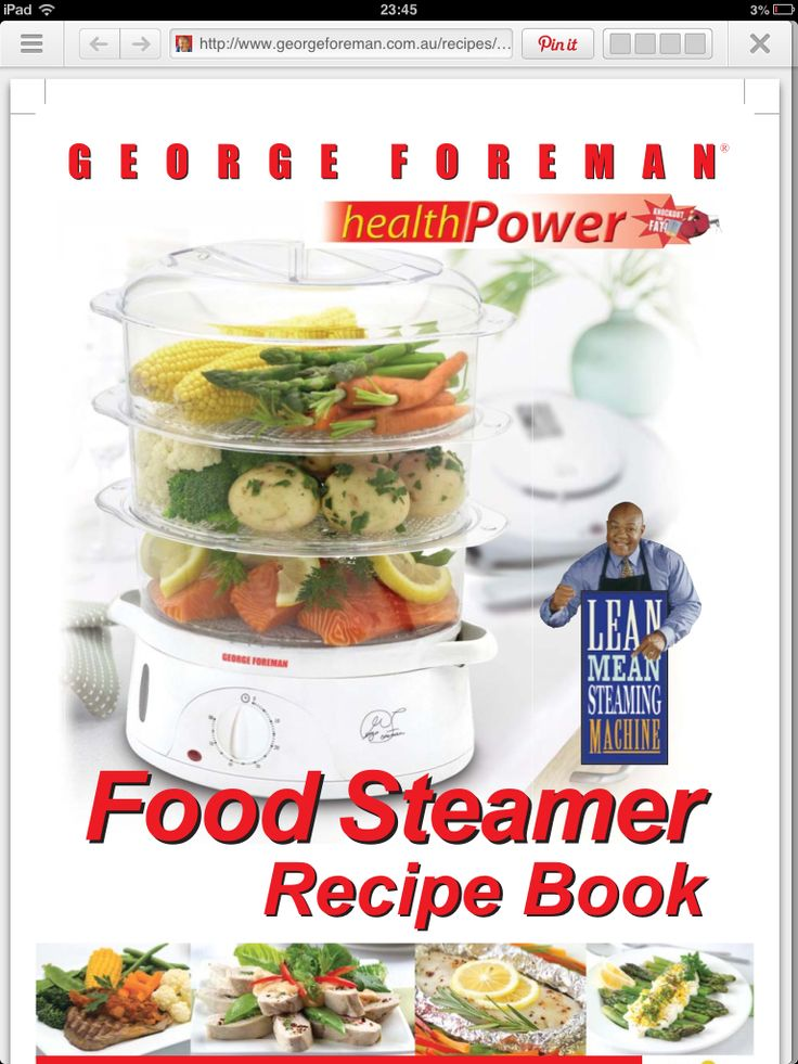 Recipes for electric steamer  http://www.georgeforeman.com.au/recipes/docs/steaming-recipes.pdf