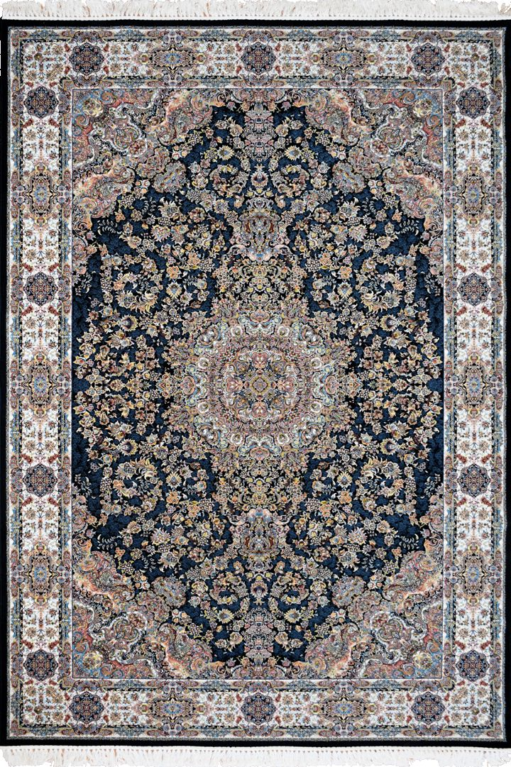 """PersicoTraditional Medallion Rugs  802001 D Blue This beguiling design has us """"BLUSHING"""" with excitement.   Our Persico rug is inspired by 'Persepolis' and the rich cultural heritage of Persians. It's power loomed at 3,000,000 points per sqm (so extremely dense) with hand knotted fringes this exquisite product is the highest and finest quality woven rug we've ever had."""