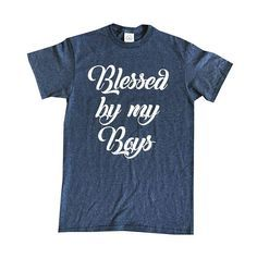 Blessed By My Boys Contemporary Graphic Preshrunk Cotton   >> High quality 100% cotton, pre-shrunk, #screenprinted, graphic #tees • Couple t-shirts, custom designed #t-shirts, & unisex #vintage t-shirts