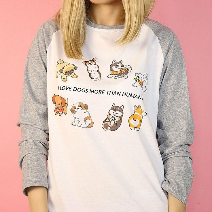 I Love Dogs More than Humans T-Shirt #dog #tshirt #shirt #raglan #boogzel #outfit