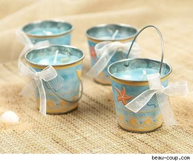 Sand bucket candle favors: Shower Ideas, Candle, Beaches Wedding Favors, Buckets, Wedding Ideas, Beaches Theme, Parties Favors, Theme Wedding, Baby Shower
