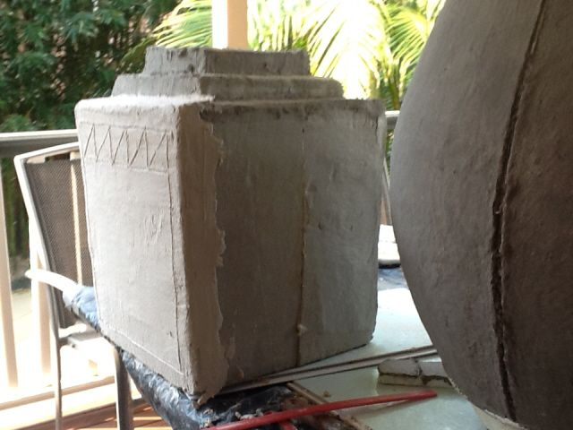 Giant pots made with new cement paper mache clay mixture for Craft cement mix