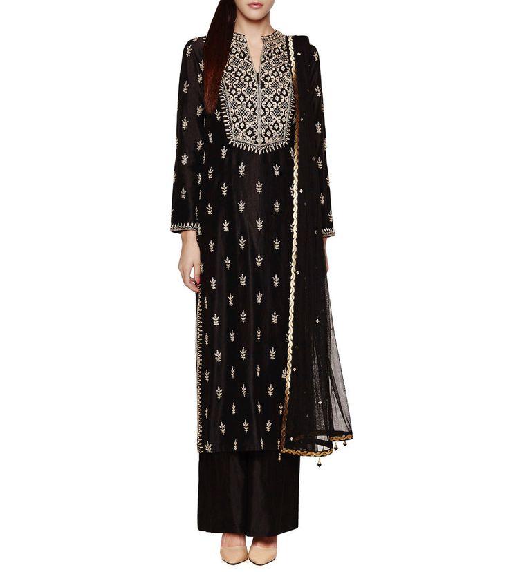 #Black Embroidered Chanderi #Silk #Kurta Set by #Anita #Dongre at #Indianroots