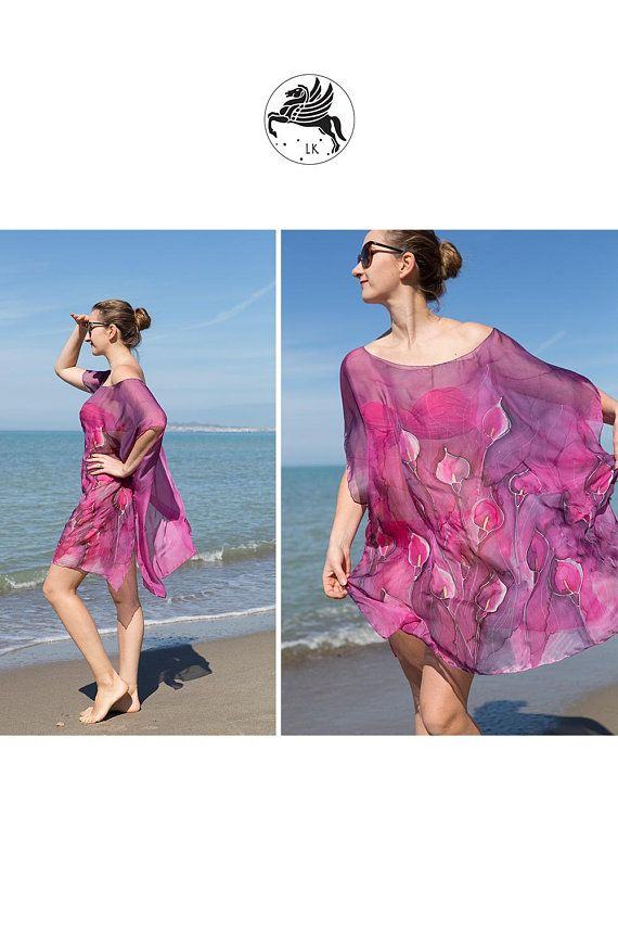 0eb15f3540 Hand Painted Silk Chiffon Poncho Tunic Kaftan Beach Cover Up with Calla  Lilly Print Resort Wear Holiday Style Beach Fashion