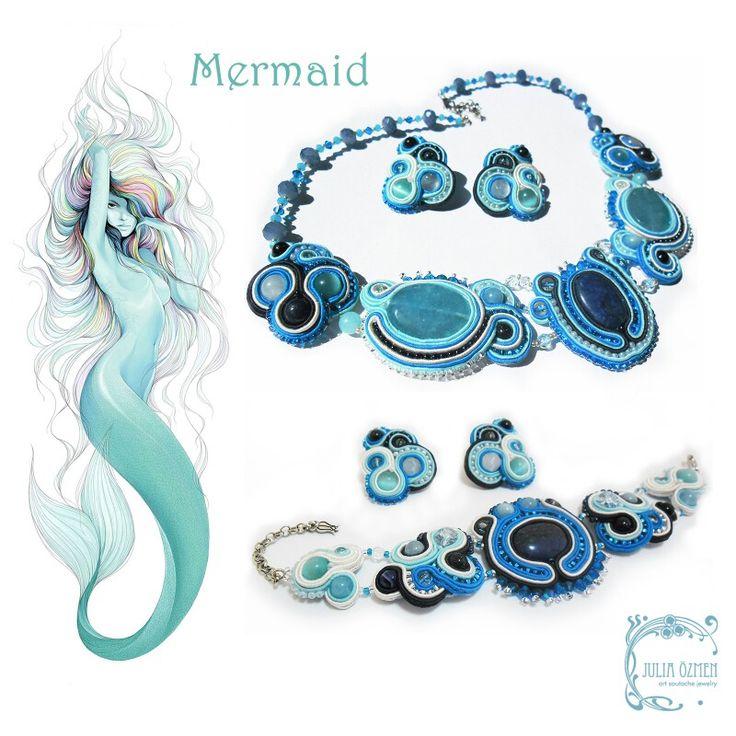 Сутажные украшения: колье, браслет и серьги. #soutache #blue #white #navy #earrings #necklace #yuliaozmen #bracelet