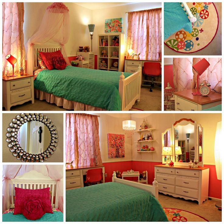 Pink and Aqua #biggirlroom - beautiful design from @LivingLullabyDesigns!