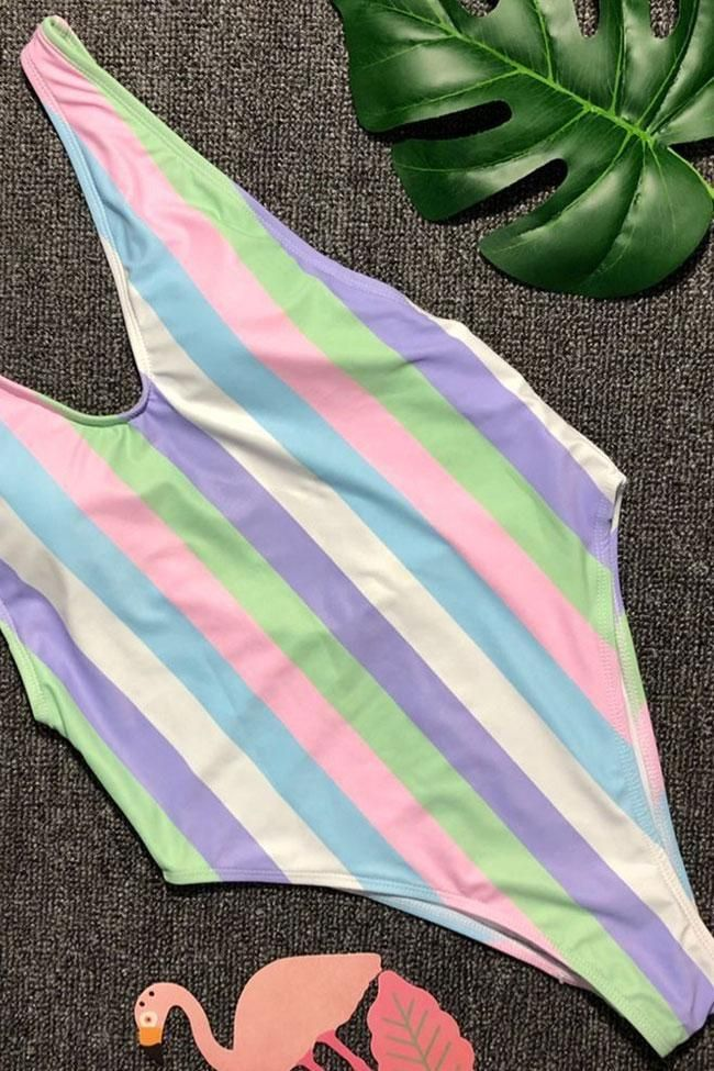 Rainbow striped low back high leg deep v one piece swimsuit