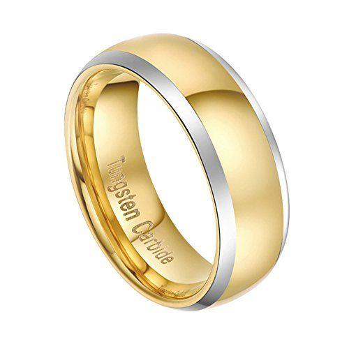 メンズ レディース タングステン リング 指輪,幅広 研磨 シンプル 結婚指輪,ゴールド(金) KZUN…