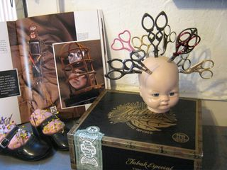 never lose another pair of scissors again: Scissor Display, Head Scissor, Mixed Media Doll, Doll Making, Scissor Head, Display Inspired, Book Mixed Media