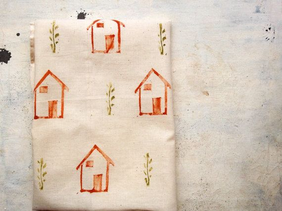 houses canvas tote bag  hand stamped in cotton  fabric  by vumap