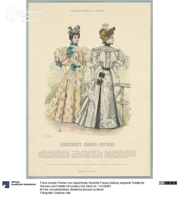 Illustrirte Frauen-Zeitung: elegante Toilette für Rennen und Toilette mit rundem Hut on www.europeanafashion.eu