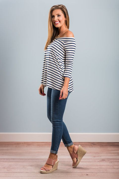 """""""Wishful Thinking Top, Navy""""This neckline has been so popular! It's so feminine and we love how flattering it is! This classic navy striped top is right on track for spring! #newarrivals #shopthemint"""