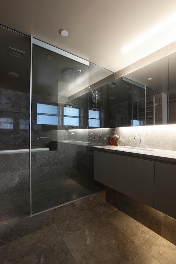 Sleek marble surface bathroom