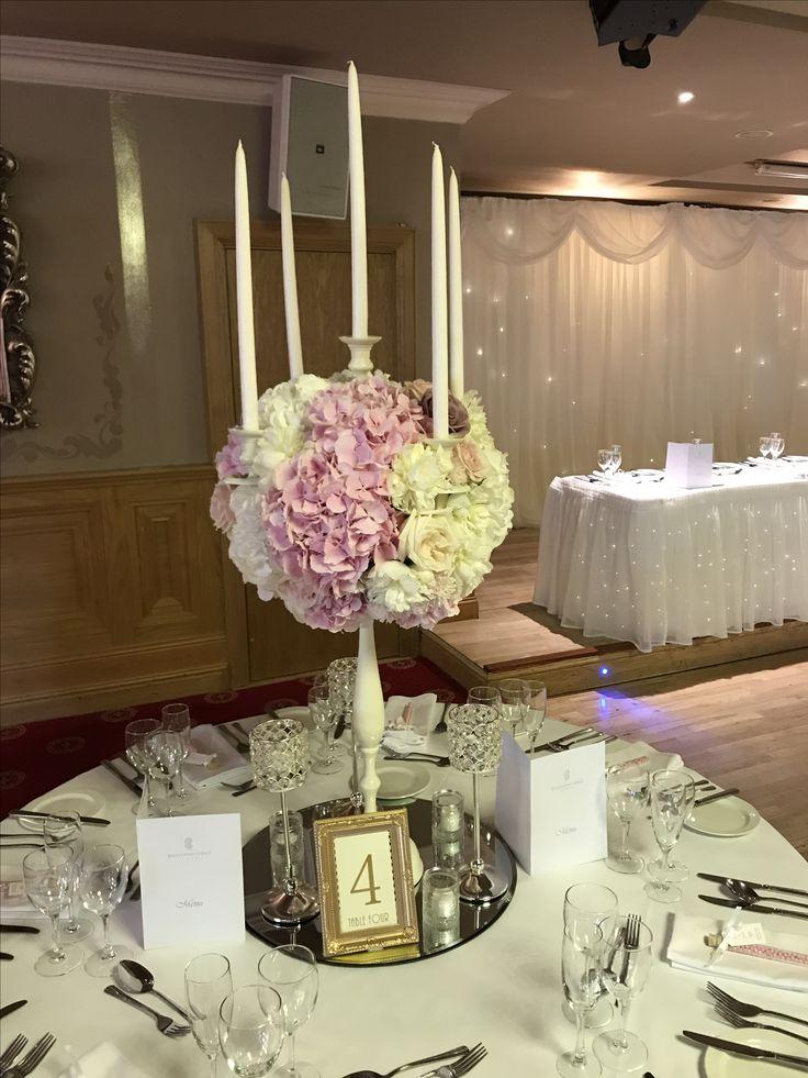 White Dress Candelabra: White Hydrangea, Soft Pink Hydrangea, White O'Hara, Pink O'Hara, Amnesia Rose, White Peony, Sweet Avalanche Rose