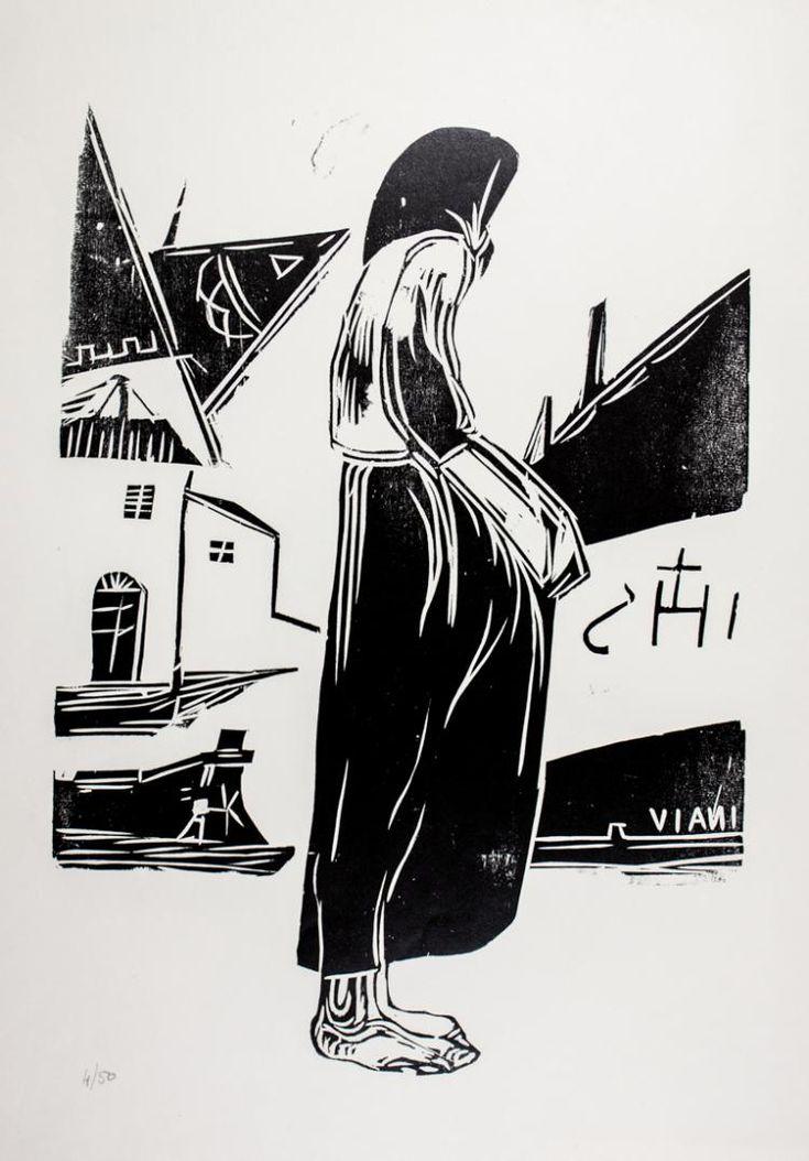 """Cartella edit. mm 505x355 contenente 8 xilografie originali di Lorenzo Viani:  """"Vedova di marinaio"""" Ognuna numerata a matita 4/50 e con al retro certificato di garanzia. Edita in occasione della mostra """"Viani intimo"""" 28 agosto-18 settembre 1961."""