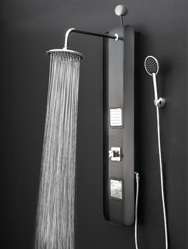 Features: -Shower panel system comes with a easy connect adapter, rainfall shower heads, handheld shower head and massage spray. -Material: High quality PVC. -Compact size, lightweight and durable. More