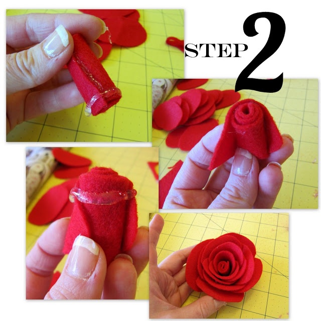 Layered roses made with felt circles Roses Are Red…   Positively Splendid {Crafts, Sewing, Recipes and Home Decor}