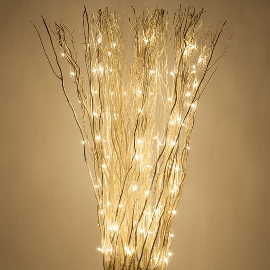 White Free Standing Willow Lighted Branches with Warm White LED Lights, 1 pc