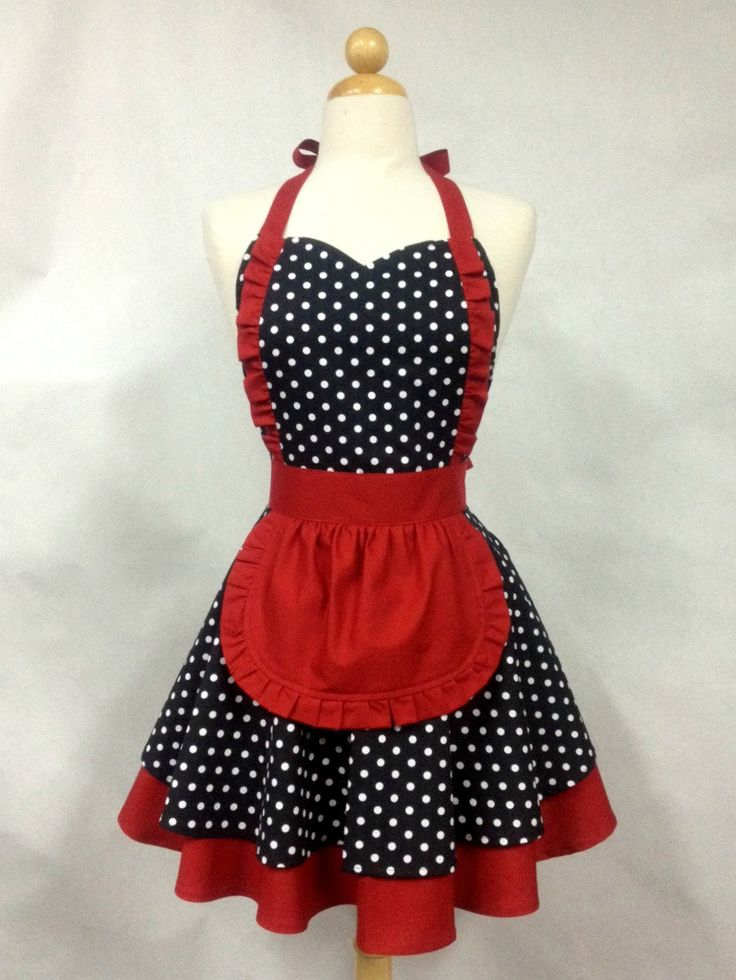Apron French Maid Polka Dot with Red Double Circle by Boojiboo, $38.75