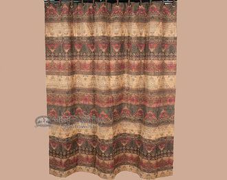 Beautiful fabric shower curtain ready to accent your southwestern, natvie or western style bathroom