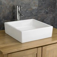 This Click Basin supplied High Quality Surface Mounted Bergamo Square  Ceramic Wash Basin Sink is perfect for most sized bathrooms, ensuites and  cloakrooms.