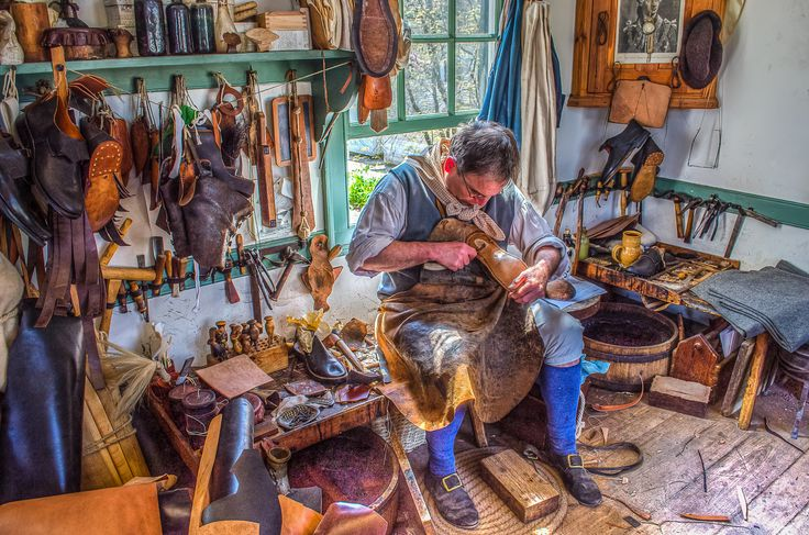 hdr photo inside the boot and shoemaker shop in colonial
