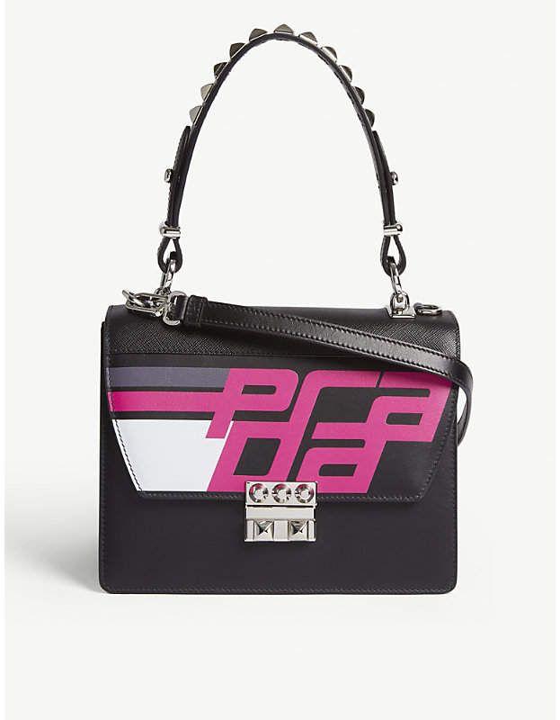14432fd60797 Prada Leather Elektra handbag - Black/Fuschia - Crafted from smooth leather  in a boxy