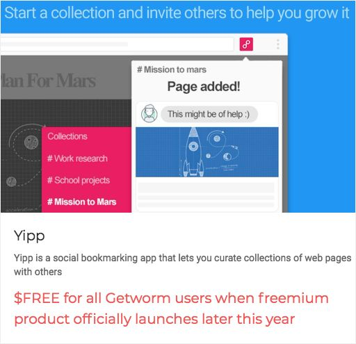 """Early birds, get the worm """"$FREE for all Getworm users when freemium product officially launches later this year"""" from @joinyipp """"a social bookmarking app that lets you curate collections of web pages with others""""  https://getworm.com/campaign/896?utm_medium=kuku&utm_campaign=polaroid&utm_source=pinterest #earlyadopters #lovethyuser #getworm"""