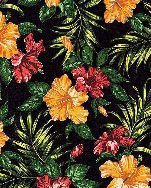Hibiscus Retreat - Tropical Panache - Black - BARKCLOTH