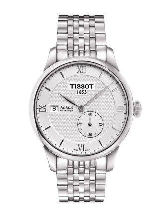 Montre TISSOT Homme Le Locle, cadran blanc, modèle automatique calibre ETA 2825-2, verre saphir et bracelet en acier.