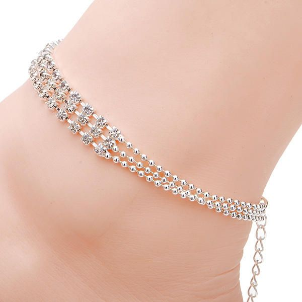 3 Rows Silver Clear Crystal Chain Anklet Bracelet Jewelry - US$5.60