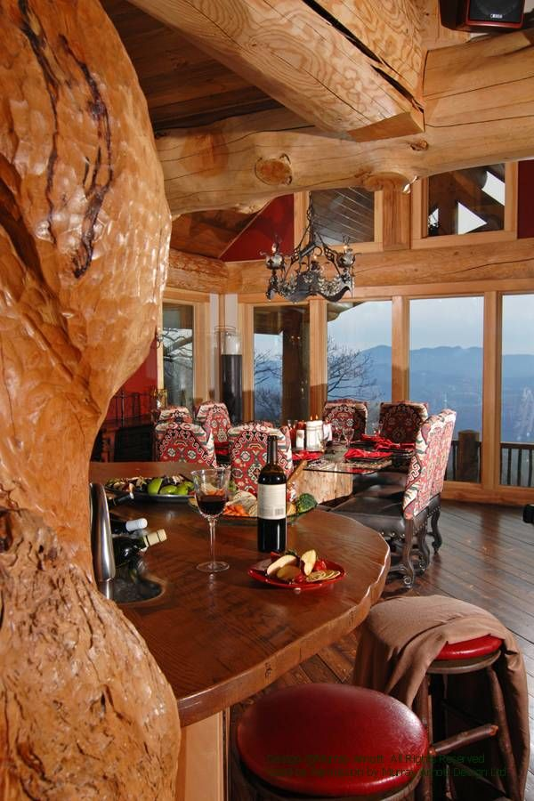 Nice Dining Room In A Round Log Post And Beam Home In North Carolina. For More