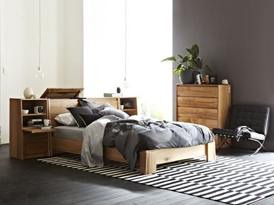 Luxor Queen Bed Frame - Snooze  Unique storage headboard design.  Crafted from carefully selected Australian Hardwood Species, predominantly Messmate