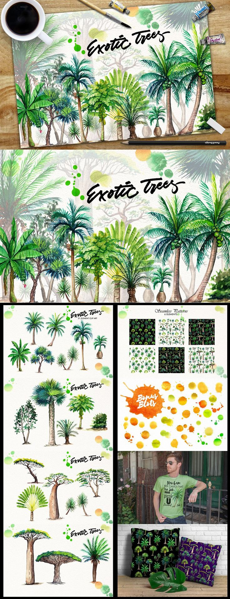 Watercolor Exotic Trees by iGRAPHOBIA on @creativemarket