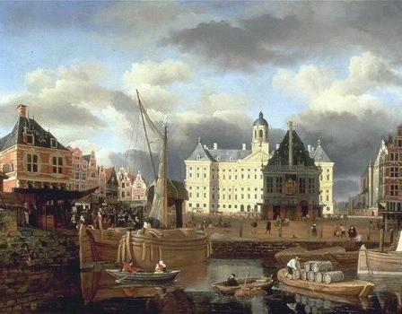 Schilderij uit de Gouden eeuw.Aspecten van de voorstelling zijn: Het stadhuis in een grooten stad(Amsterdam)met handelaren.