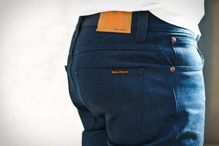 Nudie Jeans recycled blend denim. $215.00. Made from upcycling old denim and blending with additional cotton for a supersoft feel.