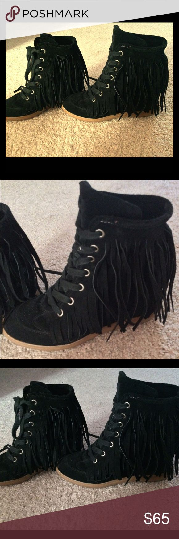 Black Aldo Wedged Sneakers Black Wedge Sneaker with fringes on sides. Very trendy and cute for a night out or can be dressed down with jeans! finally a pair of comfy heels. Also have never been worn! ALDO Shoes Sneakers