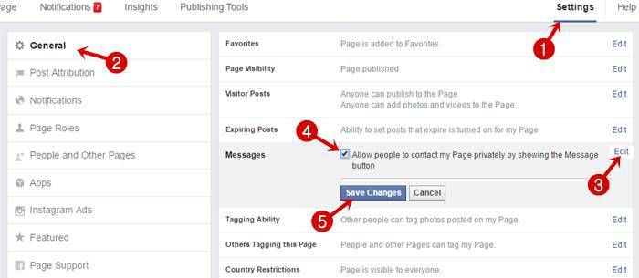 Facebook page auto reply message settings