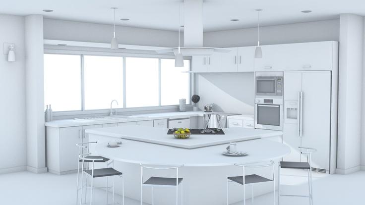 Cocina 3D studio max - vray - Photoshop - Iluminación