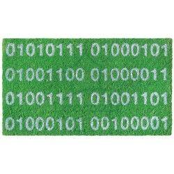 """Felpudo verde de hilo de coco """"Números binarios""""."""