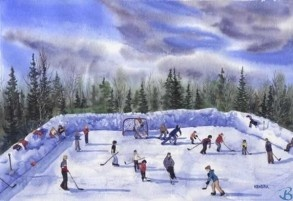 """Outdoor Rink by Artist Kendra Dixson    A frozen pond full of hockey players and skaters.     Available in Prints and Art Cards:  8""""x10"""" Print  11""""x14"""" Print  16""""x20"""" Print     6 Pack Cards  20 Pack Cards  50 Pack Cards"""