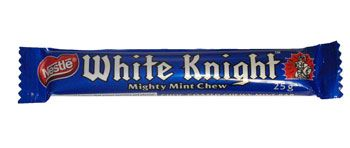 Nestle White Knight is a chocolate coated mint bar.