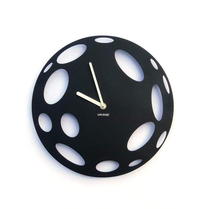 Dekoracyjny zegar ścienny Urlik Design Księżyc, czarny ◾ ◾ PrezentBox
