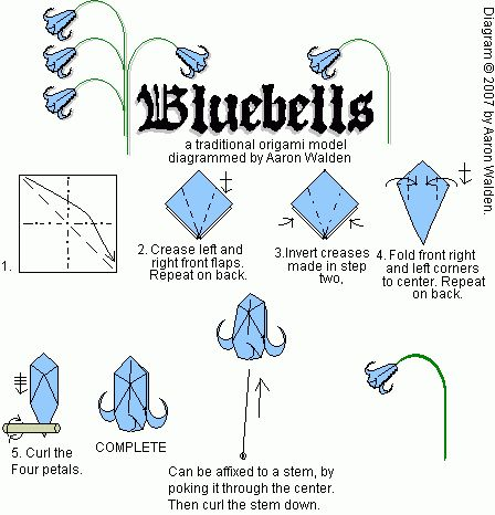 436 best origami images on pinterest creative ideas napkin bluebell origami diagram for flower mightylinksfo