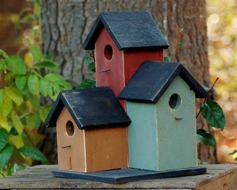 Primitive Condo Birdhouse Mustard Sage Green Barn Red Garden Rustic Country