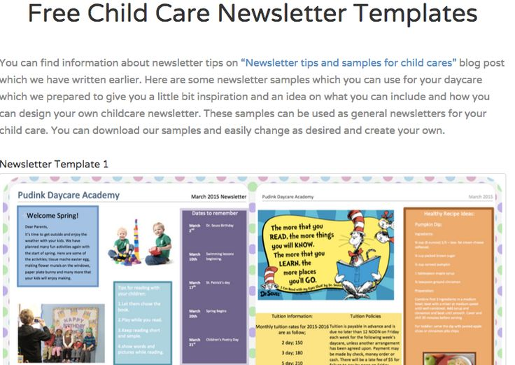 Awesome & Free Child Care Newsletter Templates  http://www.pudink.com/posts/9-free-child-care-newsletter-templates