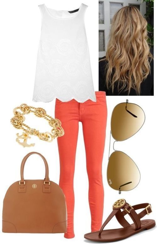 White top with stylish orange pants, complete with gold accessories! An outfit for walking a boardwalk or going to lunch with friends!
